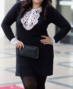 2015 New Brand Plus Size Dress Women Fashion Solid Black O Neck Long Sleeve with Lace Short Dress Female Large Size Clothing White Plus Size Dresses, Big Size Dress, Plus Size Outfits, Large Size Clothing, Short Lace Dress, Lace Dresses, Spring Dresses Casual, Autumn Clothes, Plus Size Fashion For Women