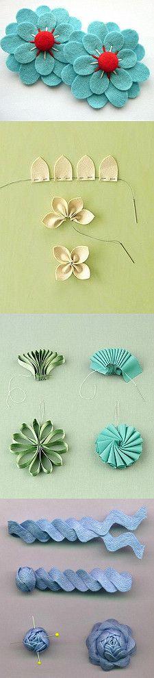 Blumen aus Filz und Zackenband