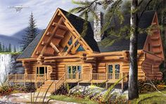 Cabin Craftsman Log House Plan 64969