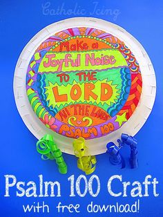 """""""Make a joyful noise to the Lord all the lands"""" Psalm 100:1 craft. Free to print, fun and easy to make!"""