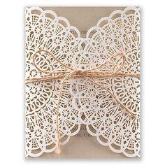 Beaming Beauty Laser Cut Wedding Invitation I Vintage Lace style wedding invitations at Invitations By Dawn