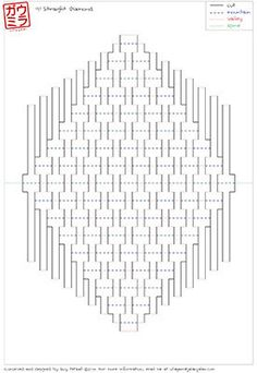 "Plantilla de bricolaje - escultura de papel pop-up ""diamante recta de 9 x 9"" Kirigami"