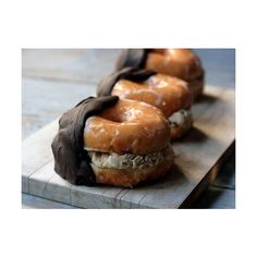 Chocolate-Dipped Coffee Ice Cream Glazed Doughnut Sandwiches {recipe} ❤ liked on Polyvore featuring food, pictures, backgrounds, food and drink and photos
