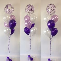 "Purples feature - pearl white, lavender and quartz purple topped with a 16"" diamond clear balloon with purple and white confetti"