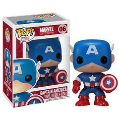 Take home the First Avenger! Captain America in stylized vinyl! This Captain America Pop! The sylized vinyl figure of Captain America is a bobble head and comes in a displayable window box. Funko Pop Marvel, Marvel Pop Vinyl, Marvel Marvel, Marvel Room, Pop Vinyl Figures, Pop Action Figures, Funko Pop Figures, Marvel Captain America, Marvel Universe