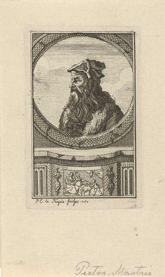 Isaac Lodewijk la Fargue van Nieuwland | Portret van Leonardo da Vinci, Isaac Lodewijk la Fargue van Nieuwland, 1752 | Portret van de Italiaanse kunstenaar Leonardo da Vinci.