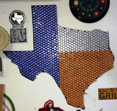 Texas bottle cap art by Larry Jenkins