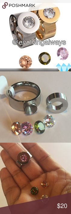 Silver Stainless Steel Interchangeable Ring Stainless steel and 4 Cubic Zirconia stones peach, green, pink, and clear. Only silver ring is available not gold. This ring offers simple elegance and functionality. Jewelry Rings