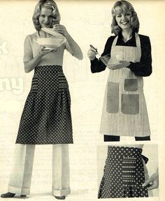 Vintage 1970s Ladies Apron or Pinny Sewing Pattern sooo...Full of Retro Home-Making Goodness! 4 to makex