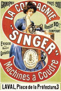 Singer Sewing machine ad from 1900.