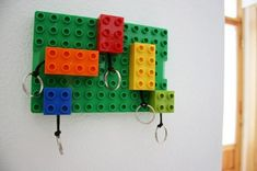 A brilliant key chain storage wall system made from building blocks!