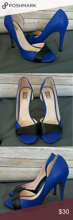 BRAND NEW Electric Blue & Black Colour Block Heels Blue and black open toe pumps. Brand new; never worn. Incredibly realistic, soft, faux leather. Built in insole comfort pad in ball of foot area. No box. Shoes Heels