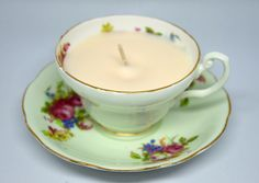 Upcycled Teacup Candle - Foley Mint Teacup with Pink, Blue & Green Flowers by FinerySoaps on Etsy
