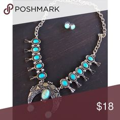Silver & Turquoise Squash Blossom Necklace Brand new silver & turquoise squash blossom necklace. Tags: country girl cowgirl jewelry boots western jewelry necklaces desert cactus Dojo Bohemian boho gypsy tribal Necklace Turquoise  Aztec Rodeo southern southwest buckle miss me cowgirl style Jewelry Necklaces