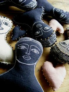 The 7th Magpie, textile art dolls