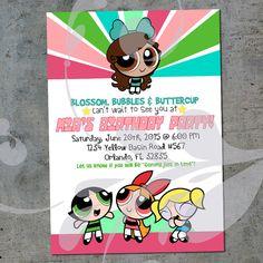 Custom Powerpuff Girls Birthday Party Invitation by Corinnerelly