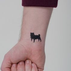 The 12 coolest pug tattoo designs in the world · dog silhouettes Silhouette Tattoos, Dog Silhouette, Pretty Tattoos, Cool Tattoos, Tatoos, Temporary Tattoos, Small Tattoos, Tattoos For Guys, Mops Tattoo