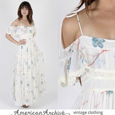 2363774d0142 Vintage 70s Gunne Sax Dress White Floral Lace Boho Wedding Hippie Party  Maxi S