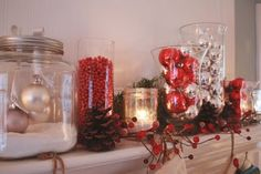 Jar with hanging ornaments on the left, yet another craft for this year!