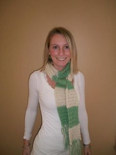 Green and White Stripe Scarf