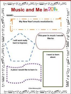 A great way to begin lessons in the new year! Reflections and Resolutions worksheets for young musicians!   $