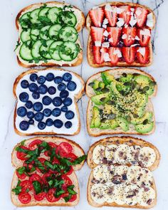 Toast parties are the best kinda parties  ✖Hummus, cucumber, mint (favourite one, seriously try it… It's amazing) ✖Raspberry jam, strawberries, coconut flakes ✖Coconut whipped cream & blueberries ✖Avocado, hemp seeds, black pepper, pepitas ✖Cherry...