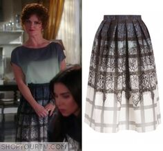 Devious Maids: Season 3 Episode 11 Evelyn's Grid Lace Skirt