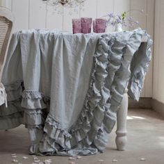 Teal Petticoat Tablecloth