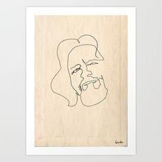One line Big Lebowski (The Dude) Art Print by quibe - $19.76
