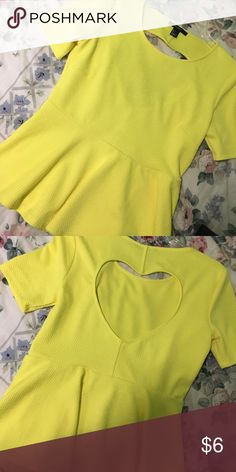 Bright yellow peplum top Slightly used(once) Yellow peplum from Forever 21 Forever 21 Tops
