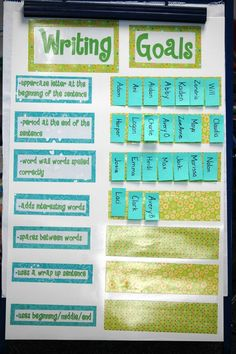 Writing goals--like this idea....would make the goals on interchangeable cards to switch it up depending on success criteria for the current task- perhaps use this in my personal data binder rather than on display.