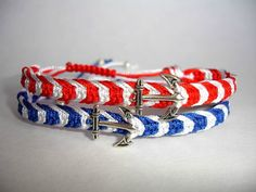 Anchor Macrame Bracelet  Nautical  Charm by LOVEwhatIdoDesigns