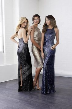 Christina Wu Celebration 22811 is a short-length all over sequin bridesmaid dress with a loose fitting top and sheath skirt with small slit in back. Satin narrow straps tie in back for a beautiful halter neckline. Additional charge for floor length dress. Sequin Bridesmaid Dresses, Wedding Bridesmaids, Wedding Attire, Prom Dresses, Formal Dresses, Wedding Dresses, Sequin Dress, Sparkly Dresses, Bridesmaid Ideas