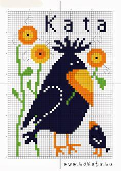 HOKATA FABULOUS WORLD - BLOG: Crow BuLi free cross stitch pattern