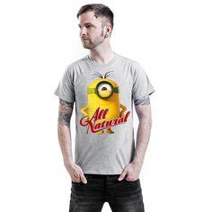 """Classica T-Shirt uomo grigia """"All Natural"""" dei #Minions con scollo tondo e ampia stampa frontale."""