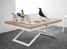 Table basse relevable extensible italienne MAGIC J de CALLIGARIS en bois naturel et piétement en acier laqué blanc