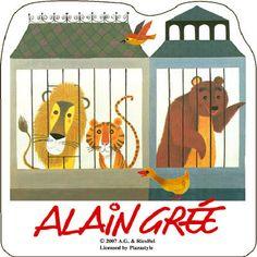 ALAIN GREE Japanese Sticker - Lion, Tiger, Bear, Duck, Bird - Zoo  -