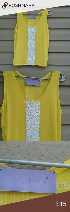 Vera Wang Lavender label sequins  top Beautiful Vera Wang top yellow with white sequins worn once like new excellent condition size 8 Vera Wang Tops Tank Tops