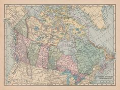 Fabric Yardage  Vintage Map of Canada  Sewing and by Mapology, $11.00  Fabric map for wall decor