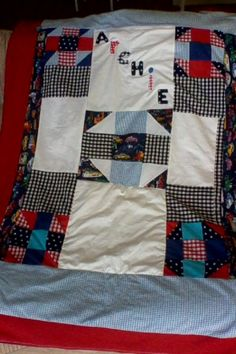 Archies quilt, by cream tees Applique Letters, Hand Applique, Personalized Tee Shirts, Cream Tees, Applique Designs, Archie, Recycled Materials, Quilts, Fabric