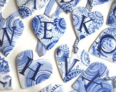 Verkoop - Initial - X - Monogram - Hand beschilderd porselein hart - blauw en Wit Delfts aardewerk Nederlandse gepersonaliseerd cadeau-valentine