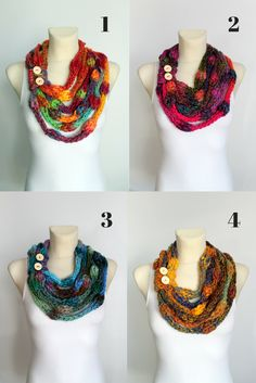 Multicolor Knit Necklace Scarves available on #etsy now www.locotrends.etsy.com  #knitting #scarves #necklaces #valentines #gifts #forher