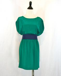 Akiko Emerald & Navy Dress | Violet Clover