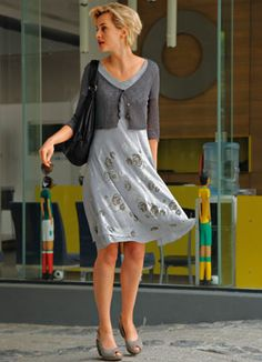grey summer dress with silver printed roses 119€ by Vivanda