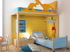 Bunk bed for the dinosaur fans. Not sure where the ladder is, but still pretty awesome