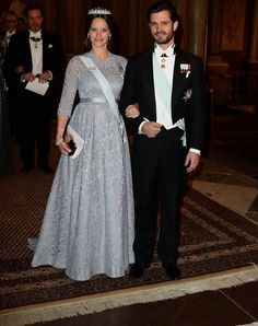 Princess Sofia and Prince Carl-Philip, Swedish Royals at the King's Dinner for 2015 Nobel Prize Winners