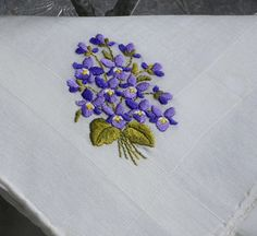 Vintage Purple Violets Bouquet Embroidered Hanky by YeOleEmporium, $5.00