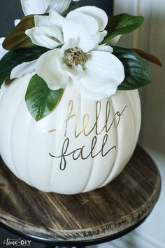 DIY: Use small pumpkins and a gold marker to create beautiful faux magnolia pumpkins and decorate your mantle or dining table!  #FallHarvest #HallmarkChannel