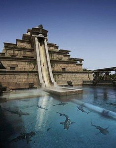Water slide that goes under water - Atlantis hotel - Dubai.