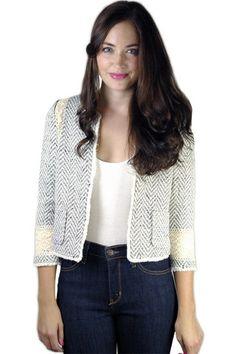 Herringbone Knit Crop Jacket | Maude #shopmaude